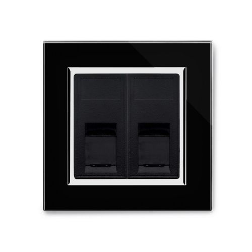 RetroTouch Dual RJ45 Cat 5E Data Socket Black Glass CT 00326